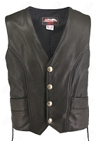 Mens Full Perforated Leather Biker Vest With Concealed Gun Pockets