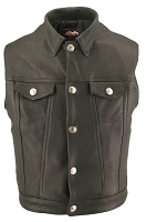 Mens Denim Style Leather Vest With Concealed Gun Pockets