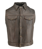 Men's Denim Style Leather Vest Distressed Brown - Gun Pockets