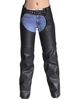 Womens Classic Black Leather Chaps