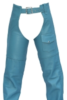 Womens Classic Baby Blue Leather Chaps