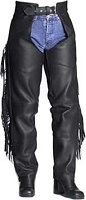 Womens Classic Black Leather Fringe and Braid Chaps