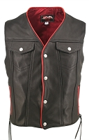 Mens Denim Style Lace Leather Motorcycle Vest - Red Trim - Gun Pockets