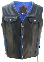Men's Denim Style Lace Side/Blue Trim Leather Vest - Gun Pockets