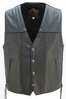 Mens The Invader Black Leather Biker Vest With Concealed Gun Pockets