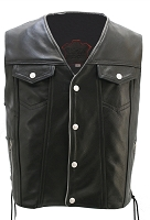 Men's Denim Style Lace Side/Reflective Trim Leather Vest - Gun Pockets
