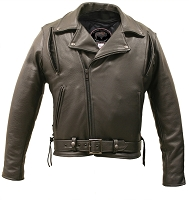 Mens Brown Bison Leather Vented Biker Jacket with Gun Pockets
