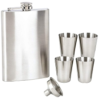 Maxam 6pc Stainless Steel Flask Set w Funnel & 4x Shot Glasses