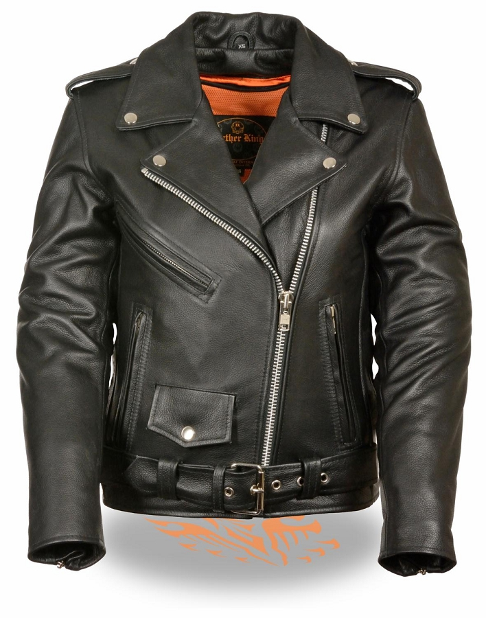 black leather classic half belt jacket