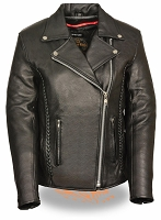 Ladies Braided Black Leather Stud Back Motorcycle Jacket