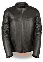 Mens Vented Black Leather Scooter Jacket w Side Stretch