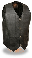 Mens Black Leather Vest w Gun Pockets Buffalo Snaps