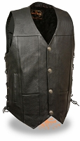 Mens Black Leather Vest with Side Lace and Buffalo Snaps