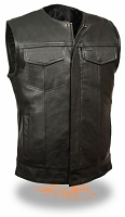 Mens Collarless SOA Style Snap/Zip Front  Vest