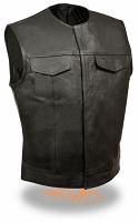 Mens Black Leather Collarless Concealed Snap Vest w Gun Pocket