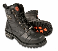 Mens Black Leather Classic Logger Boots, 8