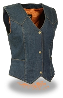 Ladies Plain Side 3 Snap Blue Denim Vest