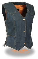 Ladies Blue Denim 3 Snap Biker Vest