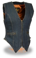 Ladies Blue Zipper Front Denim Vest w/ Side Stretch Panels