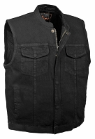 Mens Concealed Snap & Zipper Black Denim Vest