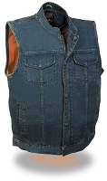 Mens Concealed Snap & Zipper Blue Denim Vest