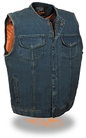 Mens Collarless Concealed Zipper Blue Denim Vest