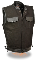 Mens Black Denim Club Style Vest w Leather Trim, Side Laces