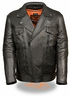 Mens Utility Pocket M/C Black 1.4mm Leather Jacket