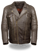 Mens Utility Pocket M/C Retro Brown Leather Jacket