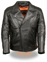 Mens Black Beltless Side Stretch Motorcycle Jacket