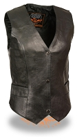 Ladies Black Leather Classic Snap Front Biker Vest