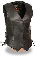 Ladies Black Leather Classic Side Lace Biker Vest