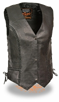 Ladies Black Leather Braided Seams Side Lace Biker Vest