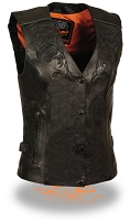 Ladies Black Leather Motorcycle Vest w Tribal Reflective Detailing