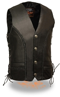 Mens Braided Side Lace Vest with Buffalo Nickel Snaps
