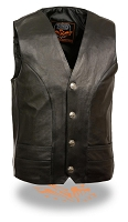 Mens Classic Motorcycle Vest with Buffalo Nickel Snaps