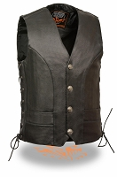 Mens Premium Side Lace Vest with Buffalo Nickel Snaps