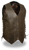 Mens Brown Leather 10 Pocket Side Lace Vest