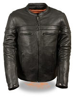 Mens Black Leather Vented Sporty Crossover Jacket