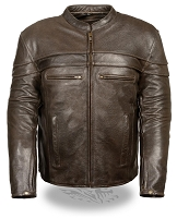 Mens Retro Brown Leather Vented Sporty Crossover Jacket