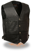 Mens Deep Pocket Motorcycle Vest with Side Buckles