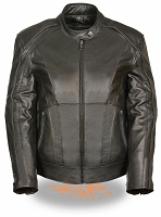 Ladies Black Leather Jacket w Studs, Embroidered Wings