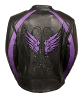 Ladies Black Leather Jacket w Studs, Stripes & Purple Wings