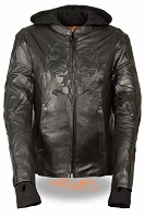 Ladies Black Leather 3/4 Jacket w Tribal Detailing