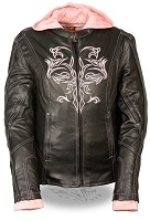 Ladies Black Leather 3/4 Jacket w Pink Tribal Detailing