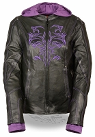 Ladies Black Leather 3/4 Jacket w Purple Tribal Detailing