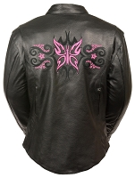 Ladies Black Leather Jacket w Fuchsia Butterfly & Stars on Rear / Arms