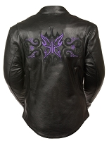 Ladies Black Leather Jacket w Purple Butterfly & Stars on Rear / Arms