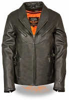 Womens Black Naked Leather Updated Vented Jacket w/ Side Buckles