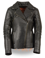 Womens Long Length Beltless Vented Biker Jacket, Zip Out Liner